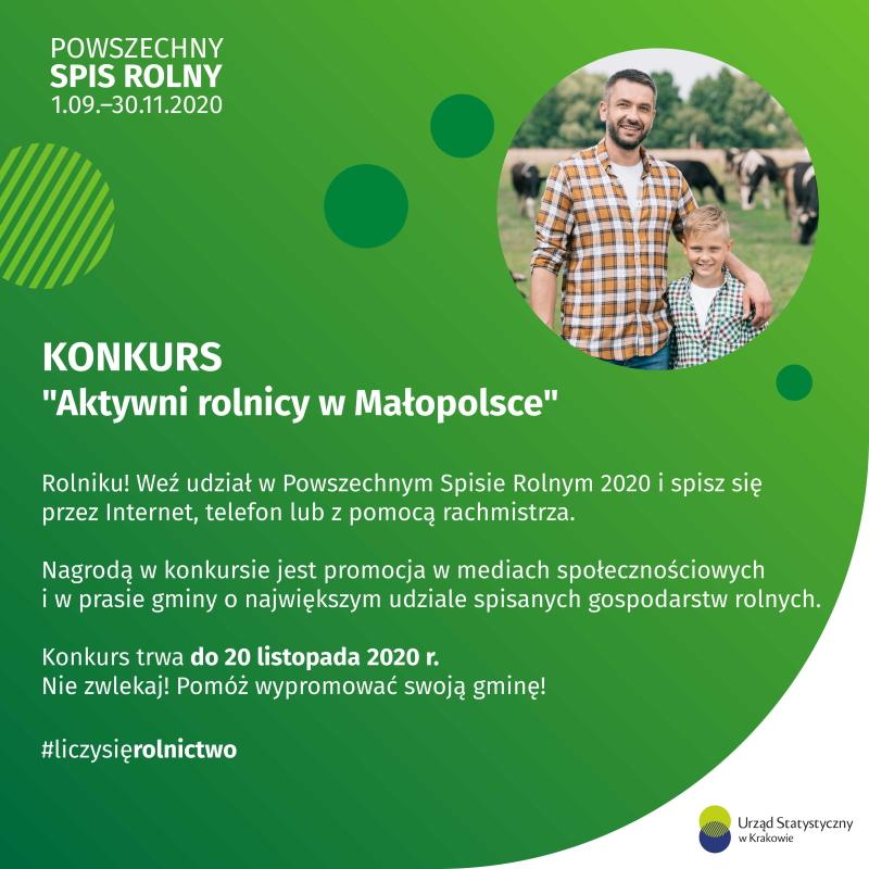 """Konkurs """"Aktywni rolnicy w Małopolsce"""", którego organizatorem jest Urząd Statystyczny w Krakowie. Rolnicy poprzez udział w spisie rolnym dają możliwość promocji swojej gminy. Do nagrody zostanie wytypowana gmina o najwyższym udziale spisanych gospodarstw w dniu 20 listopada."""